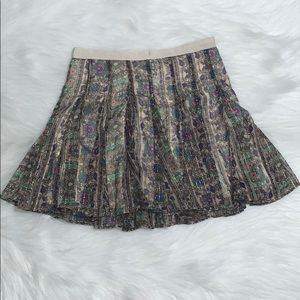 American Eagle Floral Flowy Skirt with gold foil